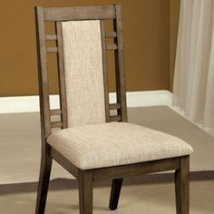 Furniture of America Eris I Transitional Weathered Gray Finish Side Chair Set of 2 Fabric Dining Chairs, Solid Wood Dining Chairs, Chair Fabric, Upholstered Dining Chairs, Dining Chair Set, Dining Table, Dining Room, Dinning Chairs, Basson