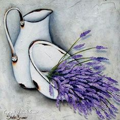 Oil Painting Flowers Art Bird Paintings On Canvas Painting White Flowers In Watercolour Tropical Flower Art Elephant Oil Painting Oil Painting Flowers, Tole Painting, Art Floral, Bird Paintings On Canvas, Decoupage Paper, Lavender Flowers, Lavender Oil, White Flowers, Flower Art