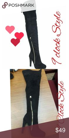 "High Boots From Bella Marie Style Color Black  Description  Stylin black  heel over the knee boots you can parade around in all day. Features thin black  faux leopard fur lining.  Features & details  Heel: 4 ""Platform:   NO LOW BALLS ##: thank you  All shoes in my closet are New comes with original box no trades sorry 😉😉 Bella Marie Shoes Heeled Boots"