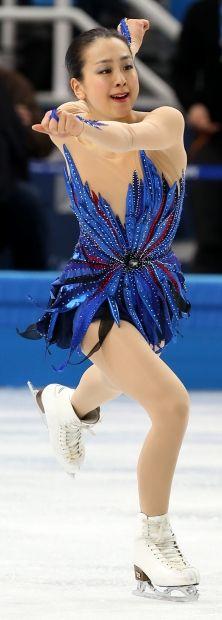 女子フリーで華麗に演技する浅田真央=ロシア・ソチのアイスベルク・パレスで2014年2月20日、貝塚太一撮影