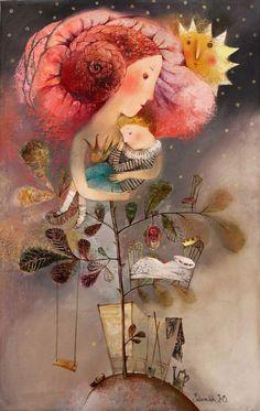"littlechien: "" littlechien via campsis campsis: "" Anna Silivonchik - ""Нежность"" "" Children's Book Illustration, Illustrations, Art Fantaisiste, Naive Art, Whimsical Art, Oeuvre D'art, Folk Art, Fantasy Art, Decoupage"