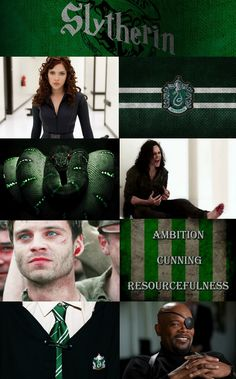 Avengers sorted into their respective Hogwarts houses- YAY FOR SLYTHERIN! WE GET ALL THE BADASSES!