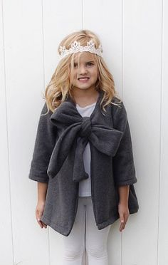 """+THE ZERMATT FLEECE SWING COAT +sizes 12m, 18m, 2T, 3T, 4T, 5, 6 +large bow tie feature in front +3/4 length sleeves and a """"swingy"""" body ..."""