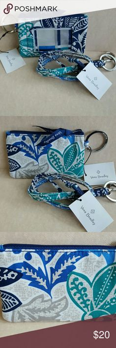 VERA BRADLEY ZIP ID CASE AND LANYARD Nwt.  SANTIAGO pattern  Zippered case with plastic ID HOLDER on front and keyring on the side.  Lanyard has keyring and latch Vera Bradley Accessories