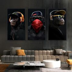 Abstract Wall Art, Canvas Wall Art, Wall Art Prints, Canvas Prints, Canvas Frame, Wall Art Pictures, Canvas Pictures, Images D'art, Three Wise Monkeys