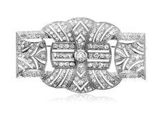 Online veilinghuis Catawiki: Indrukwekkende 18 kt witgouden broche, bezet met 166 diamanten!