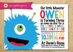 Printable Little Monster Invitation Boy or Girl by MyHelloDesigns