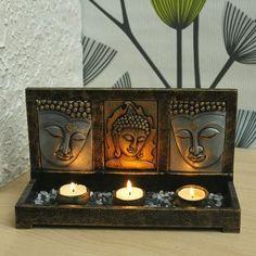 buddha decor Gift Nation Buddha Triple T-Light Stand Meditation Raumdekor, Meditation Room Decor, Buddha Kunst, Buddha Zen, Buddha Garden, Asian Decor, Indian Home Decor, Thai Decor, Buddha Home Decor