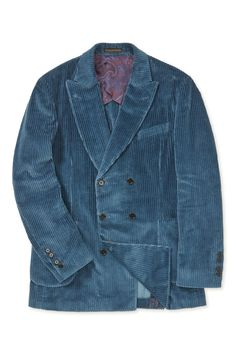 This unstructured double-breasted jacket is a versatile piece for the cooler months. It's cut in soft wide-wale corduroy fabric woven by the prestigious Italian mill Pontoglio, and is left half-lined for comfort. Denim Button Up, Button Up Shirts, Double Breasted Jacket, Woven Fabric, Corduroy, Jackets, Men, Clothes, Tops