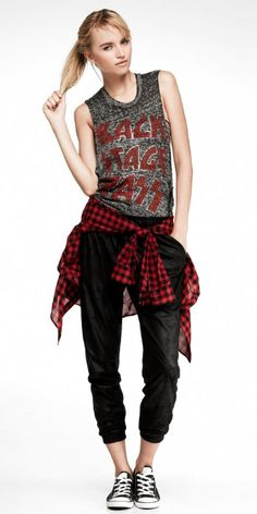 Women's Plaid Shirt, Graphic Tee and Drawstring Track Pant #EXPRESS...I would add gladiator booties though...