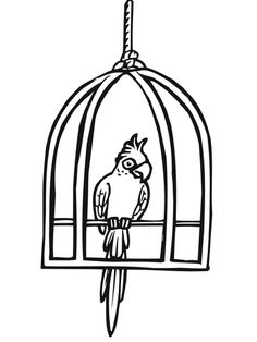 Parrot In A Cage Coloring Page From Parrots Category Select 28148 Printable Crafts Of Cartoons Nature Animals Bible And Many More