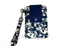 Dark Blue Cream Cell Phone Bag, ID Pocket, or Cross Body Bag, iPhone 6, 6 Plus, Samsung Galaxy S3, Padded  Pouch, iPod Bag by MeeMawsBags on Etsy