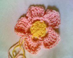 Crochet Flower -- Five Petal One Layer Large Flower ~ free pattern ᛡ