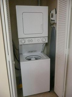 """Figure out additional info on """"laundry room stackable washer and dryer"""". Take a look at our web site. Washer Dryer Closet, Laundry Dryer, Laundry Closet, Laundry Room Organization, Small Laundry, Basement Laundry, Basement Apartment, Basement Bathroom, Washroom"""