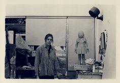 Claudette Schreuders with the unfinished Lokke in the sculpture studio, University of Stellenbosch