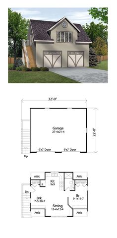 Garage Apartment Plan 45134 | Total Living Area: 511 SQ FT, 1 bedroom and one 3/4 bathroom. #carriagehouse