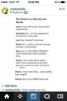 Percy Jackson. The sevens last words