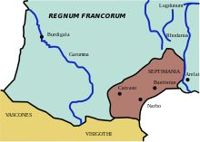 Septimanie en 537- Thierry II. 1)BIOGRAPHIE. 1.3: SOUS LA TUTELLE DE BRUNEHAUT. 1.3.2 MARIAGE DE THIERRY ET D'ERMENBERGE (607), 2: Ce mariage prolongeait une tradition puisque Brunehaut est elle-même une wisigothe, fille d'Athanagild, de même que sa sœur Galswinthe, mariée en 566 à Chilpéric, morte en 570 dans des conditions suspectes.