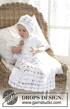 So Charming / DROPS Baby - The baby set is made up of: Dress for Christening or special occasions, worked top down with raglan and open fan pattern in DROPS Safran. Crochet hat with flower squares and fan edge in DROPS Safran. Crochet Flower Hat, Crochet Baby Dress Pattern, Bonnet Crochet, Crochet Baby Cardigan, Crochet Baby Clothes, Crochet Girls, Dress Sewing Patterns, Crochet For Kids, Baby Patterns