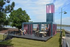 London-based architects DK-CM worked with design studio The Decorators to create this pop-up polycarbonate events space in the Thames-side town of Erith. Mediterranean Architecture, Tropical Architecture, Light Architecture, Wood Pergola, House Deck, Pedestrian Bridge, Glass Floor, Architecture Visualization, River Thames
