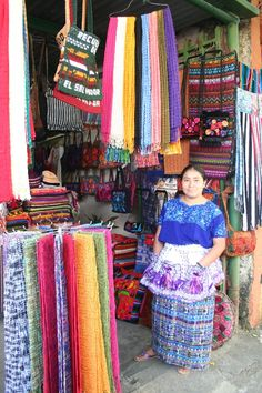 The bright textiles of the Maya people can be seen in the markets of the region and are a worthwhile buy - but remember the price is normally very negotiable. Everything from embroidered belts to rugs and table cloths can be found in stores such as this one near the Guatemala and El Salvador border.