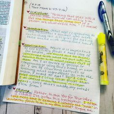 """Used the SOAP method of Bible study this morning as I read Mark 6:47-7:16 in my Every Day With Jesus Daily Bible. Totally realizing that I often DO examine the list of ingredients on a package of food MORE than I examine my heart and the words that come out of it. Father, forgive me and help me be more aware of what I'm taking in that affects the attitude and resulting outflow of my heart, than what I take in that affects the # of carbs or calories I consume. (""""Above all else, guard your…"""