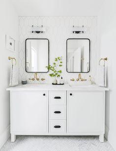 Portland Reveal: How I Designed a Modern Yet Traditional Guest Bathroom - Emily Henderson modern white bathroom ideas - Modern White Bathroom, White Vanity Bathroom, Gold Bathroom, Bathroom Renos, Bathroom Fixtures, Bathroom Renovations, Small Bathroom, Master Bathroom, Remodel Bathroom
