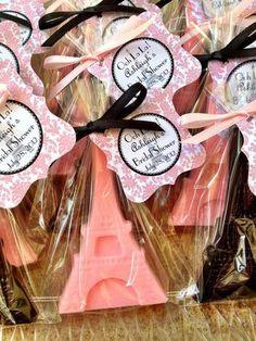 Eiffel Soap Favors Handmade soap, Shabby Chic, Paris themed party, Eiffel Birthday, wedding, Bachelorette, destination wedding, Party favor, bridal shower, Parisian, grey, coral, pink, black www.favorsbyangelique.com