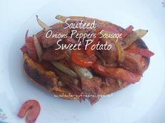 Sauteed Onion Pepper Sausage Sweet Potato-Paleo