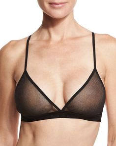 Skin Triangle Soft Tulle Cotton Bra, Black