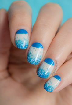 Blue nails with half moon details