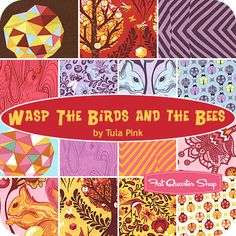 Wasp The Birds and the Bees Fat Quarter Bundle Tula Pink for Free Spirit Fabrics