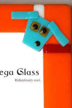 Custom Dog Photo Frame in Orange Fused Glass 5 x 7, by Judy Macauley of Omega Glass, $56.00. Free U.S. shipping.