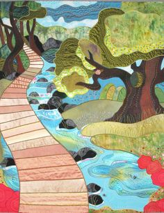 """Watch Where You Step, 46 x 36"""", Art Quilt designed by Rose Hughes"""