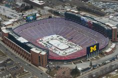 A view of The Big House from above just days before the Winter Classic, via MLive.com