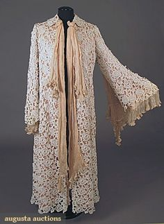 1905 morning robe - Rose pink silk satin covered w/heavy embroidered lace, lined w/pink silk satin & batting, and pleated silk chiffon neck scarf & sleeve embellishment.