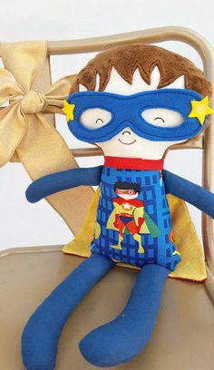 Superhero Doll |  | Plush Doll| Boy Doll | Boy birthday| Flying| Handmade Doll| Handmade Boy Doll | by WhimsyAdoration on Etsy