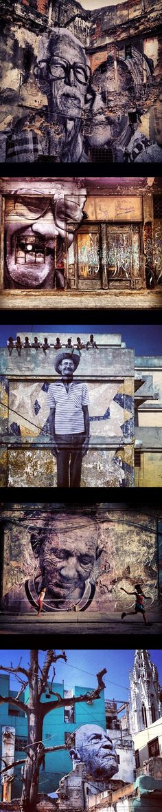 French creative JR's latest installment of the series 'the wrinkles of the city'. in Havana, Cuba. He's collaborated with brooklyn-based artist José Parlá to conceive of and put in place this expansive public art project.