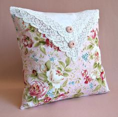 "Cottage Pillow Cover -- Pink -- Roses -- Crochet Lace -- 14"" x 14"""