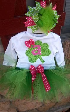 St. Patrick's Day Tutu Set, Green and Pink Initial Shamrock, Outfit. $40.00, via Etsy.
