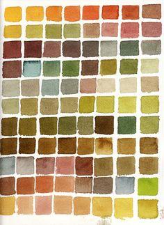 autumn colours, watercolour, swatch, colour scheme, chart, greens, hues, painting