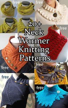 Neck Warmers - free Knitting Patterns rounded up at the link. I like the buttoned ones, they have nice shape from simple pieces.