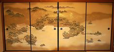 Fusuma (襖) is made of thick, opaque paper (meaning not letting light through) and it is used as a door for closets or as partitions between rooms. It can be found with decorations of many sorts.