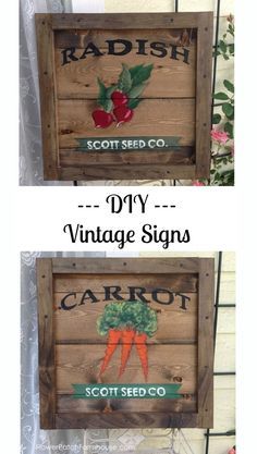 DIY Vintage Signs, complete tutorial and a pattern to download.  FlowerPatchFarmhouse.com