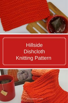 Hillside dishcloth knitting pattern features alternating garter stitch and stockinette stitch rows with a garter stitch border. A very quick & easy knitting pattern and beginner friendly. Dishcloth Knitting Patterns, Crochet Dishcloths, Crochet Patterns, Crochet Angels, Crochet Cross, Knit Crochet, Knitted Washcloths, Yarn For Sale, Crochet Ornaments