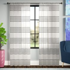 You'll love the Dibella Striped Sheer Rod Pocket Curtain Panels at Joss & Main - With Great Deals on all products and Free Shipping on most stuff, even the big stuff. #affiliate