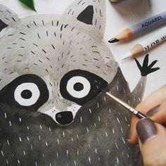 Un vistazo del proyecto que estoy haciendo ahora mismo. Solo os cuento que está lleno de animalillos of course! /// Sneak peek of the project I'm currently working on. It is full of forest animals of course!  #art #illustration #drawing #draw #picture #artist #sketch #sketchbook #paper #pen #pencil #artsy #instaart #beautiful #instagood #gallery #creative  #instaartist #graphic #graphics #artoftheday #art_we_inspire #raccoon #mapache by carmensaldana_illustration