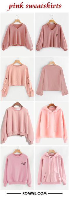 pink sweatshirts 2017 - romwe.com