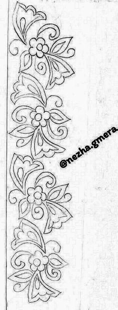 Hand Embroidery Design Patterns, Embroidery Works, Flower Embroidery Designs, Embroidery Motifs, Beaded Embroidery, Cross Stitch Embroidery, Flower Art Drawing, Wreath Drawing, Dot Art Painting