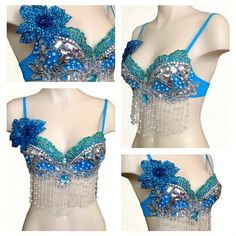 Aqua Blue and Silver Disco Rave Music Fest Bra by RepublicOfRave on Etsy
